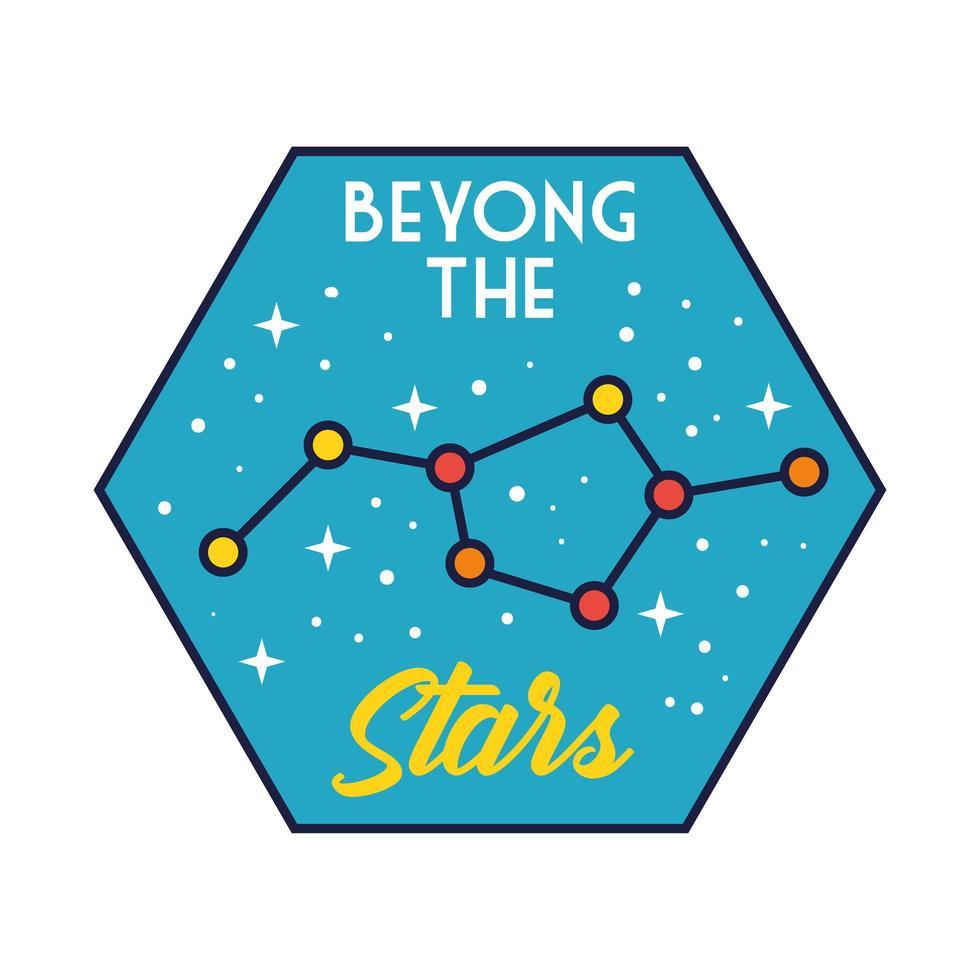 Insignia espacial con línea de constelación de estrellas y estilo de relleno. vector