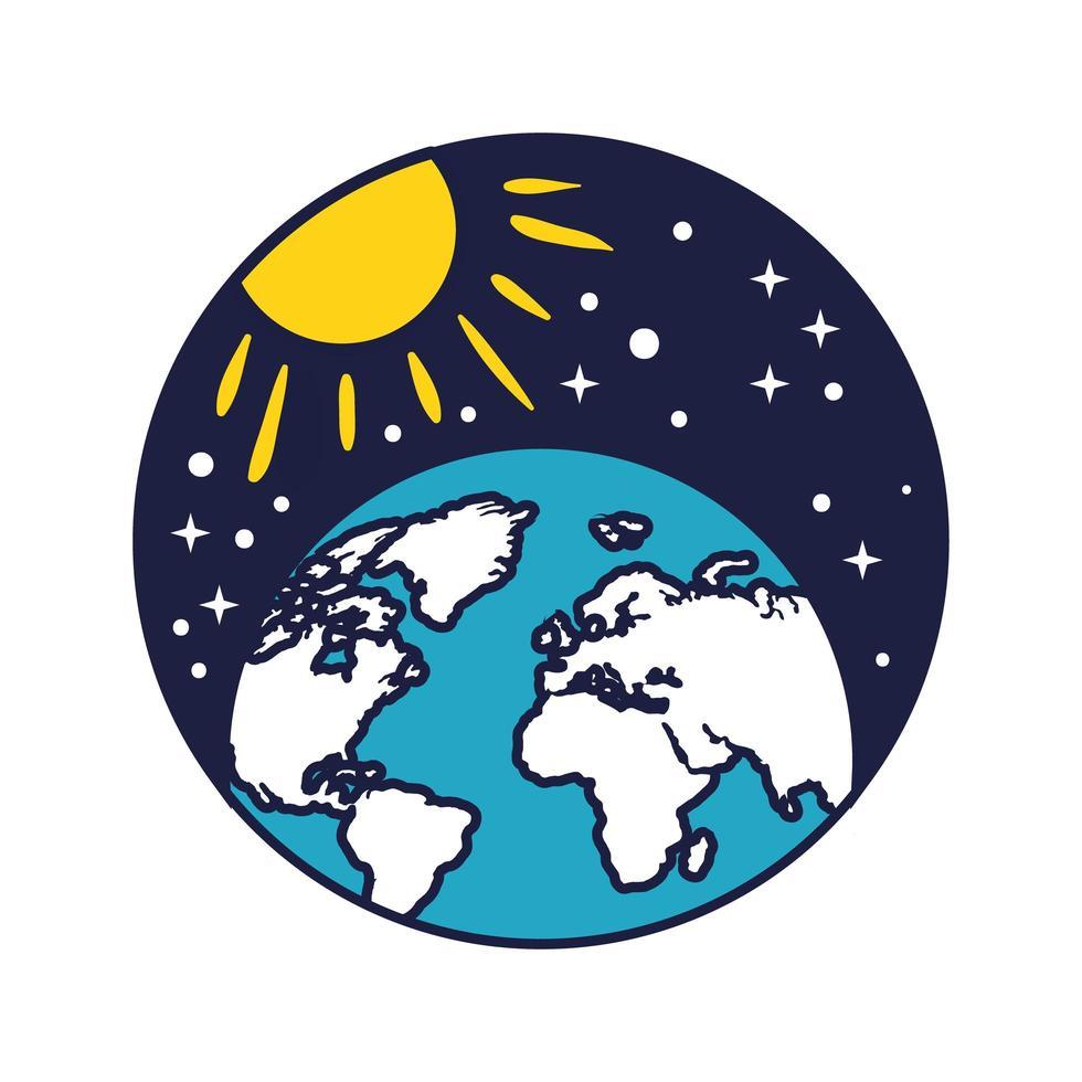 Insignia espacial con planeta tierra y línea solar y estilo de relleno. vector