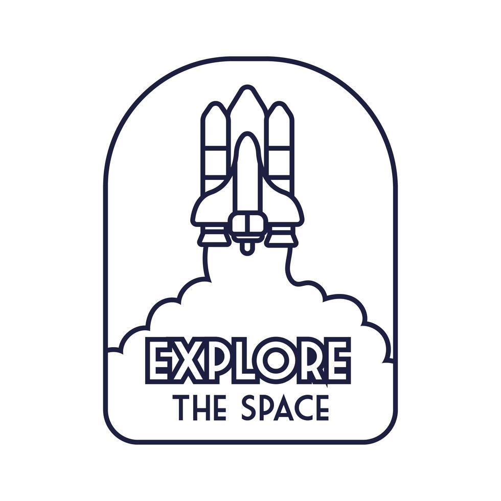 insignia espacial con nave espacial volando y explorar el estilo de línea de letras espaciales vector