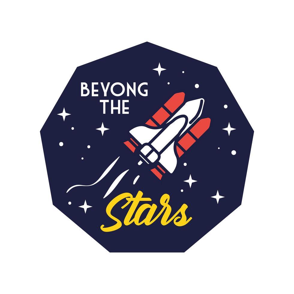 insignia espacial con nave espacial volando y más allá de la línea de estrellas y estilo de relleno vector