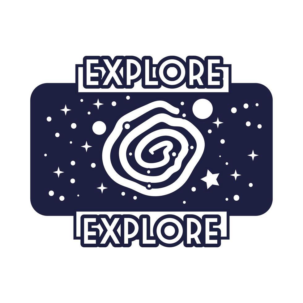 insignia espacial con estilo de línea de agujero negro vector