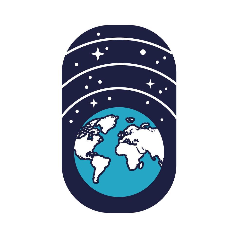 Insignia espacial con línea de planeta tierra y estrellas y estilo de relleno vector