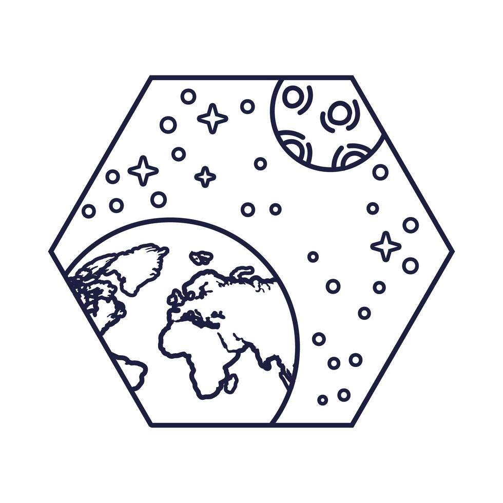 space badge with earth planet and moon line style vector