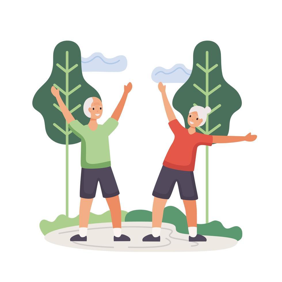 pareja senior activa practicando ejercicio vector