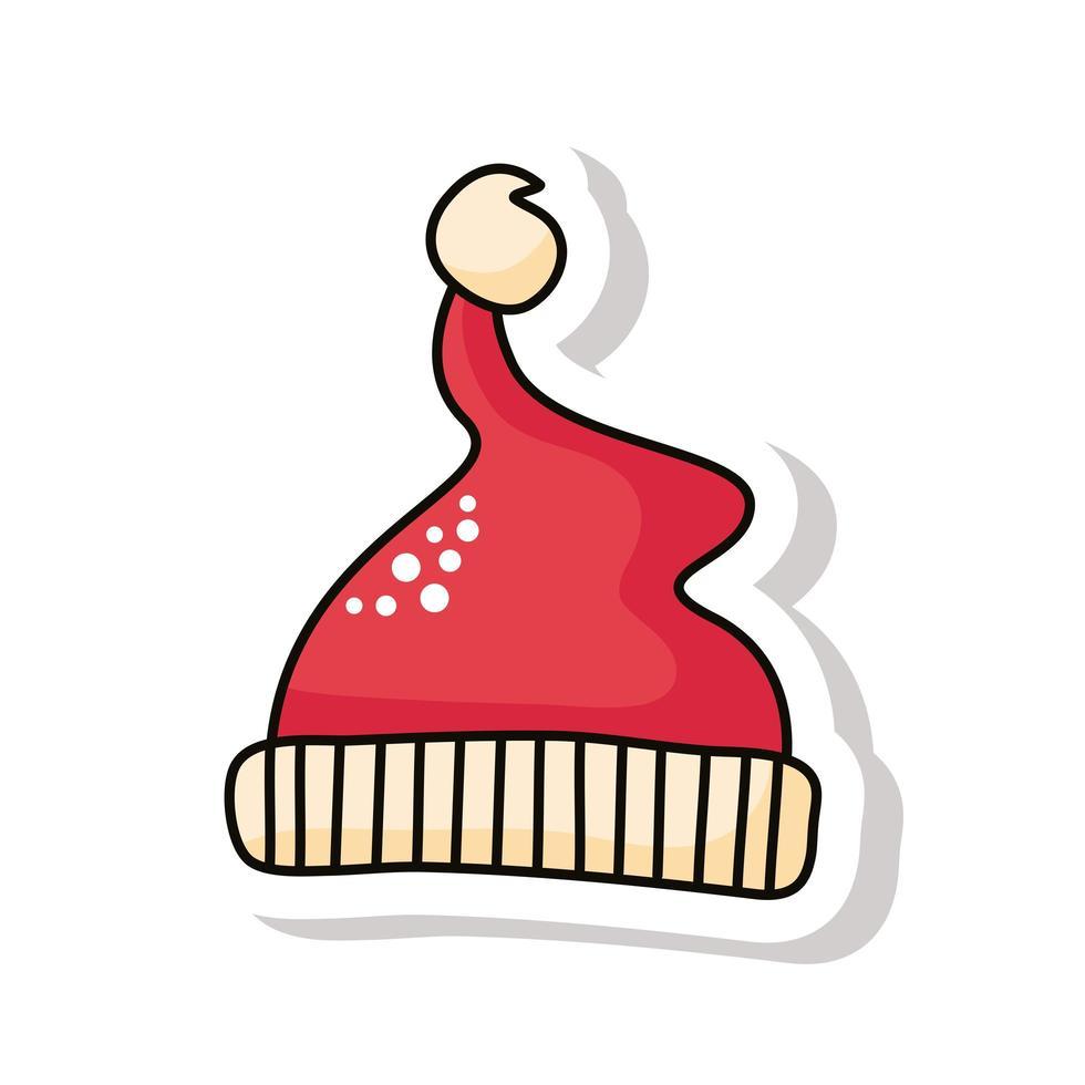 feliz navidad rojo santa sombrero pegatina vector