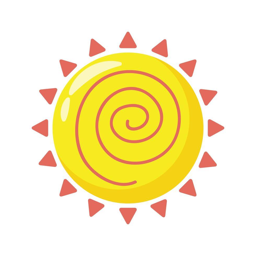 icono de estilo plano de sol de verano vector