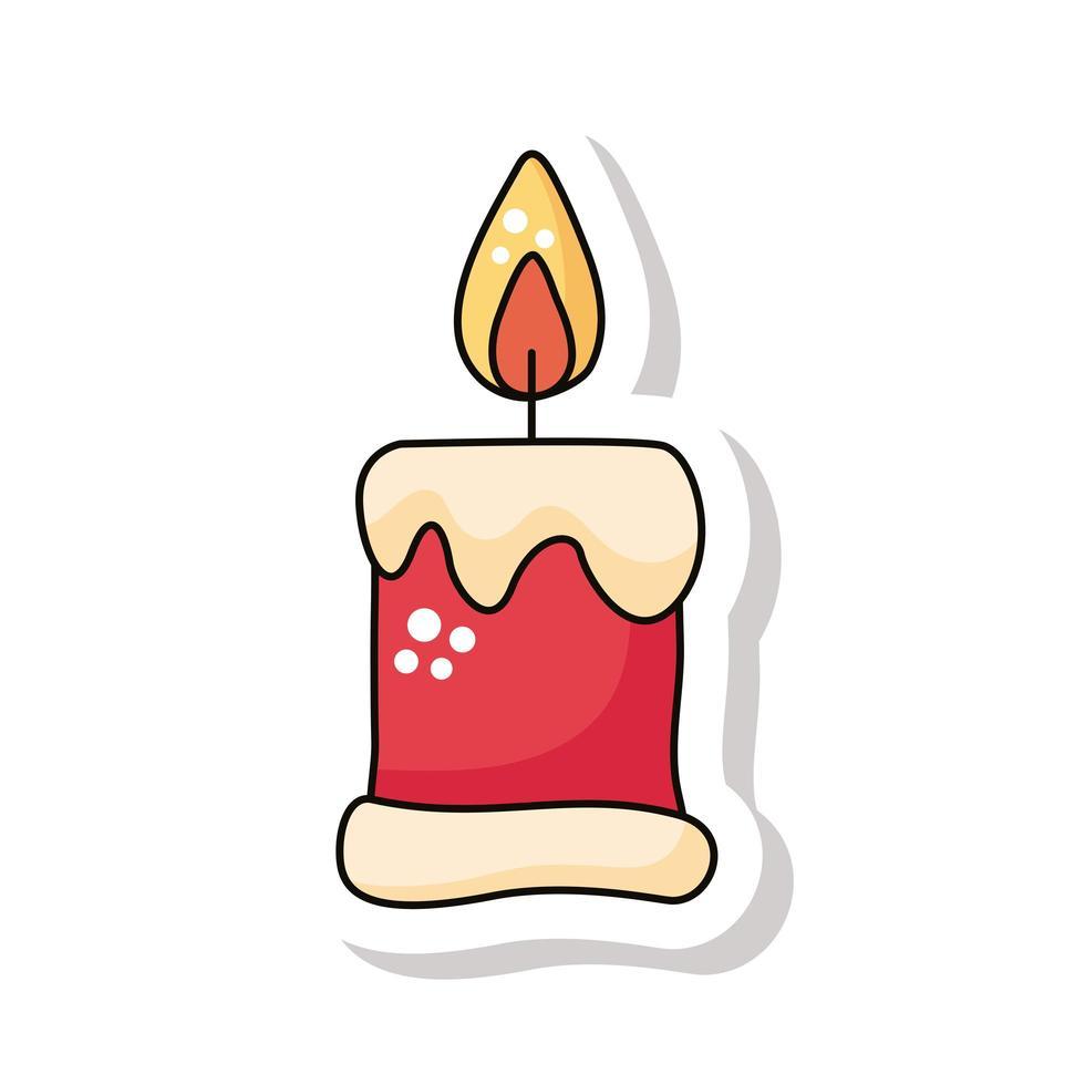 icono de etiqueta de vela de feliz navidad vector