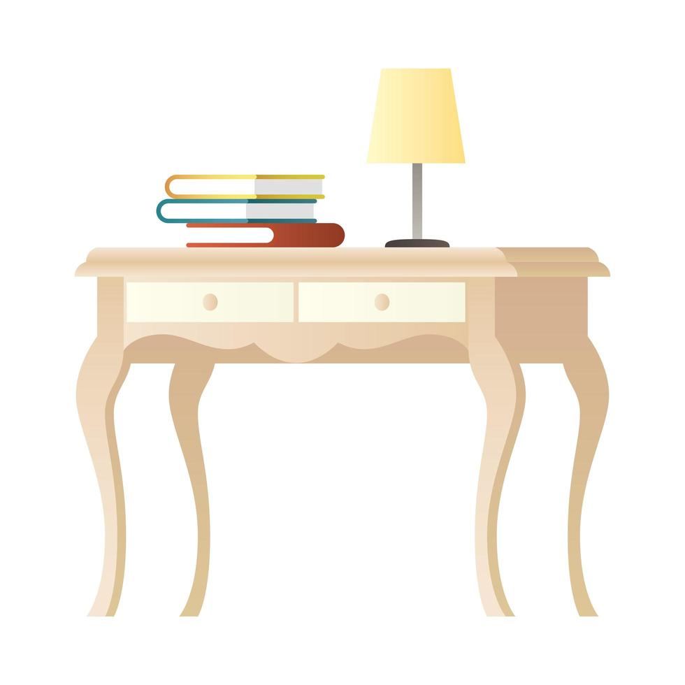lamp and books on wooden table vector