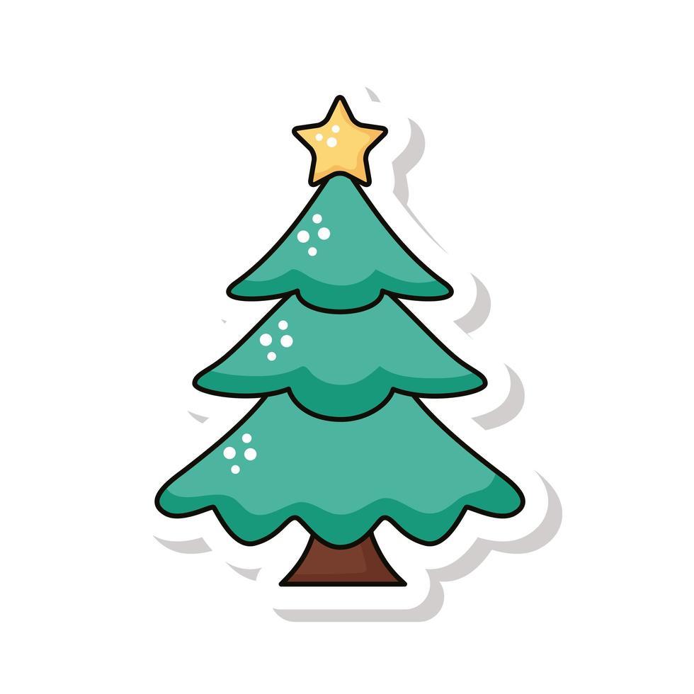 icono de etiqueta de árbol de pino de feliz navidad vector