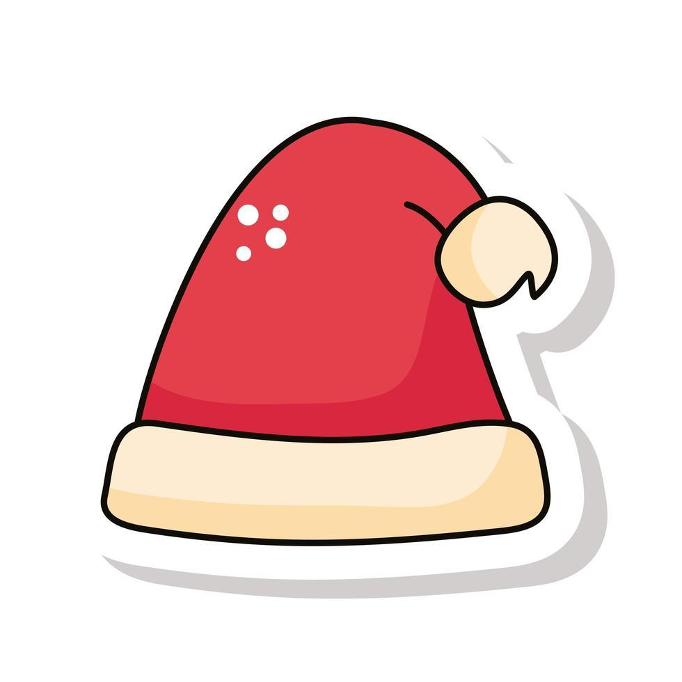 feliz navidad rojo sombrero de santa claus pegatina vector