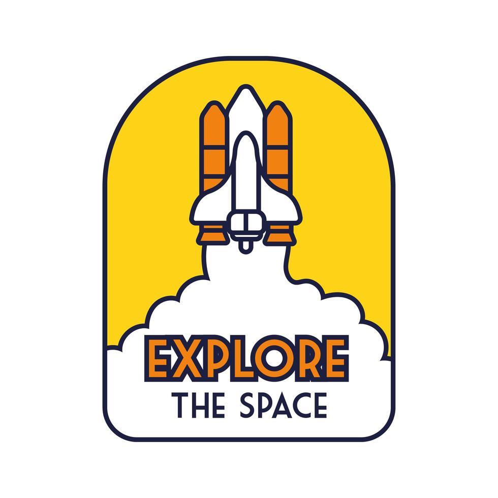 insignia espacial con nave espacial volando y explorar la línea de letras espaciales y el estilo de relleno vector