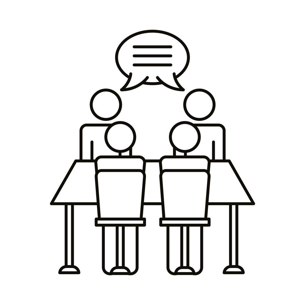 cuatro trabajadores hablando en el icono de estilo de línea de mesa vector