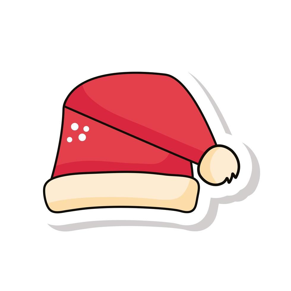 navidad, rojo, santa sombrero, pegatina, icono vector