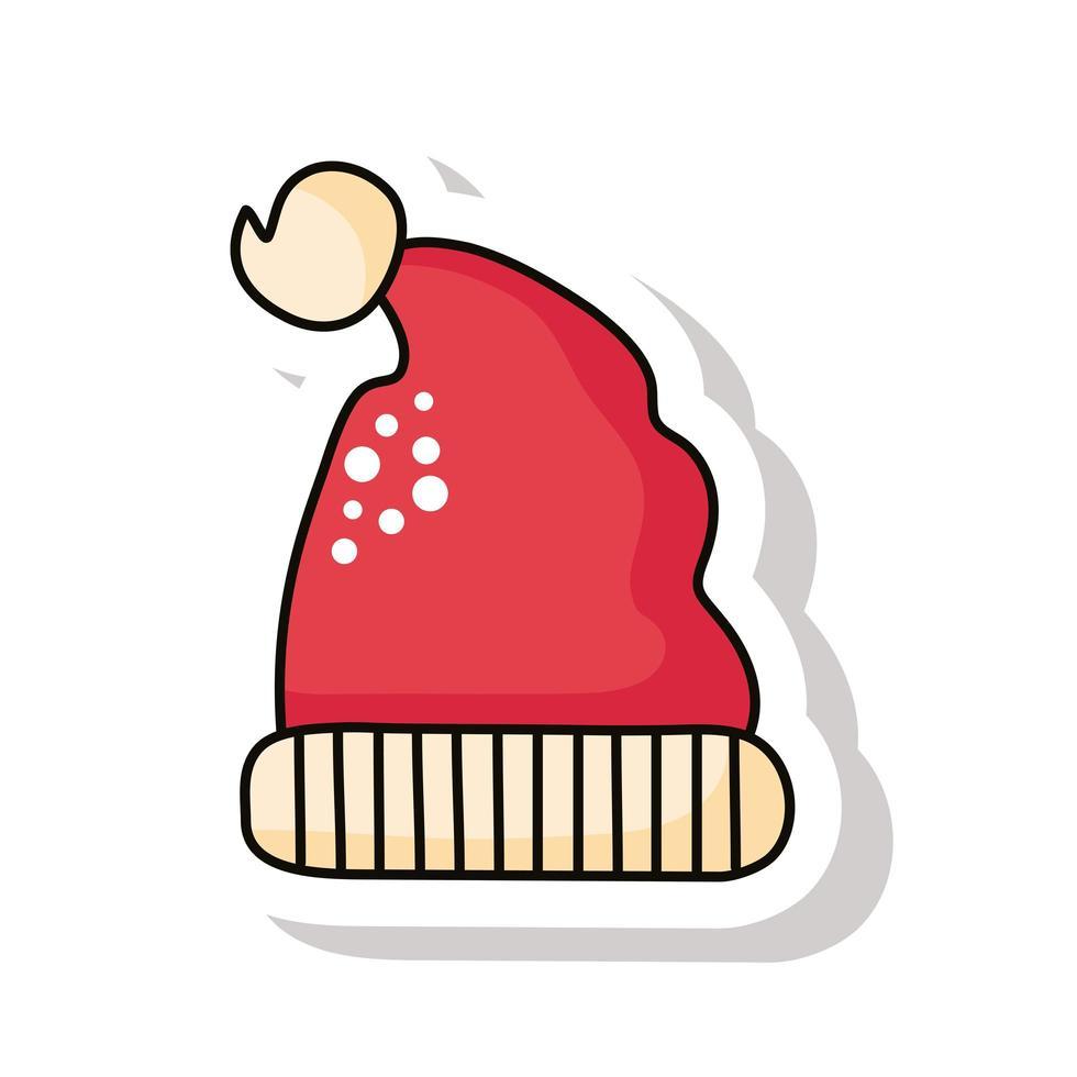 feliz navidad, rojo, santa claus, sombrero, pegatina, icono vector