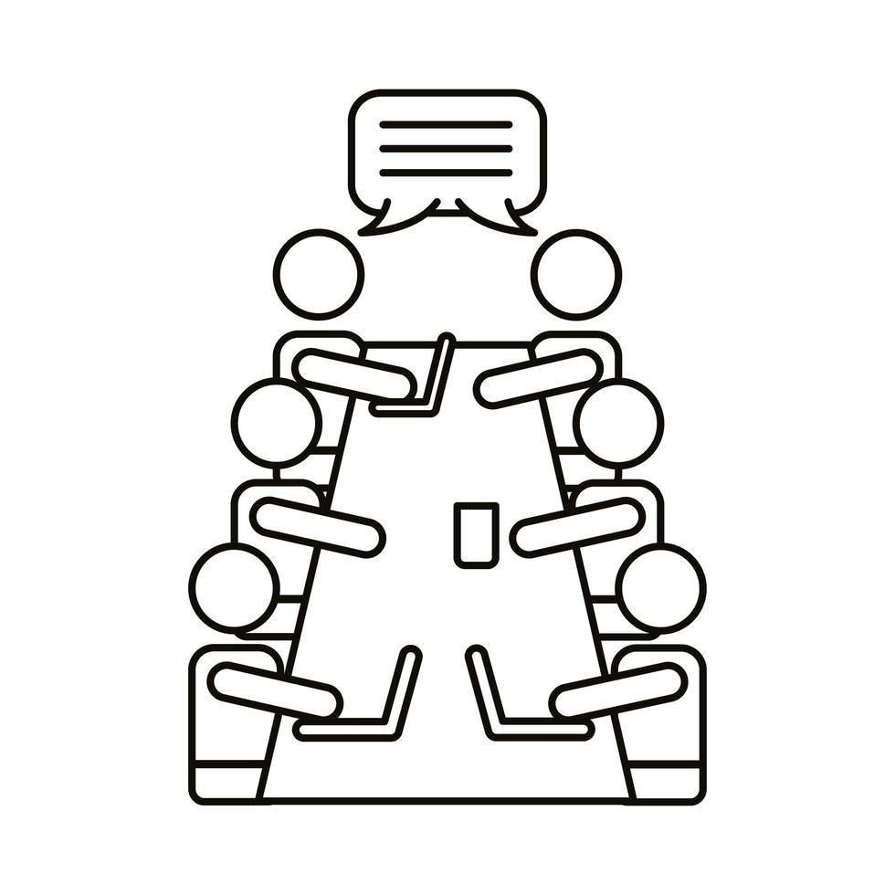 grupo de trabajadores hablando en el icono de estilo de línea de mesa vector