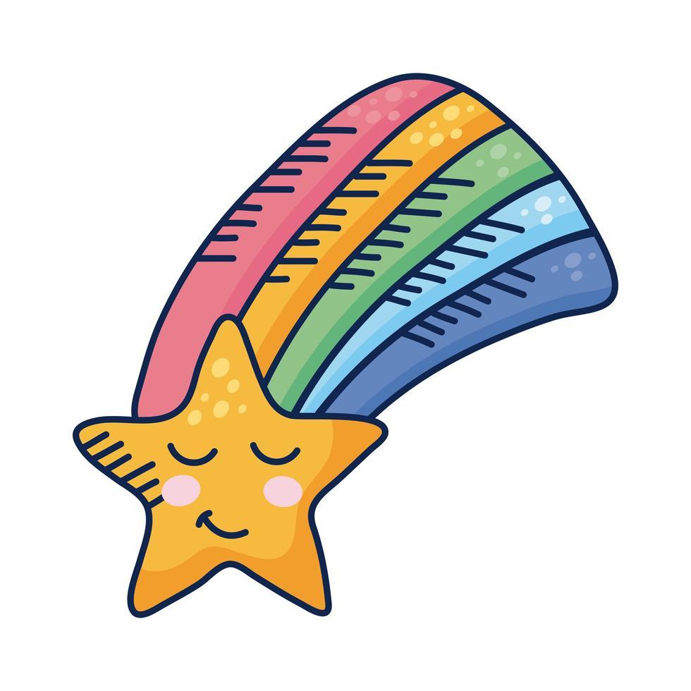 arco iris kawaii con personaje de cómic estrella vector