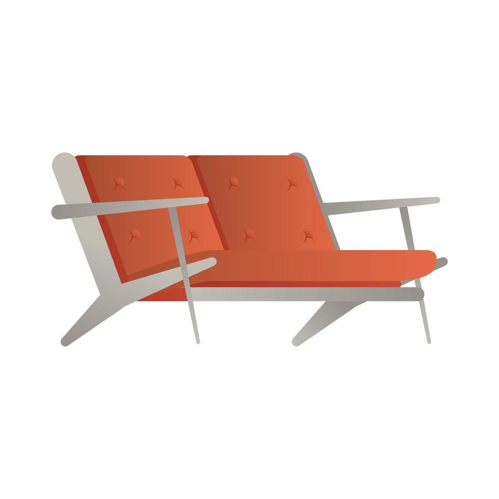 Ilustración de vector de icono aislado de sofá doble rojo