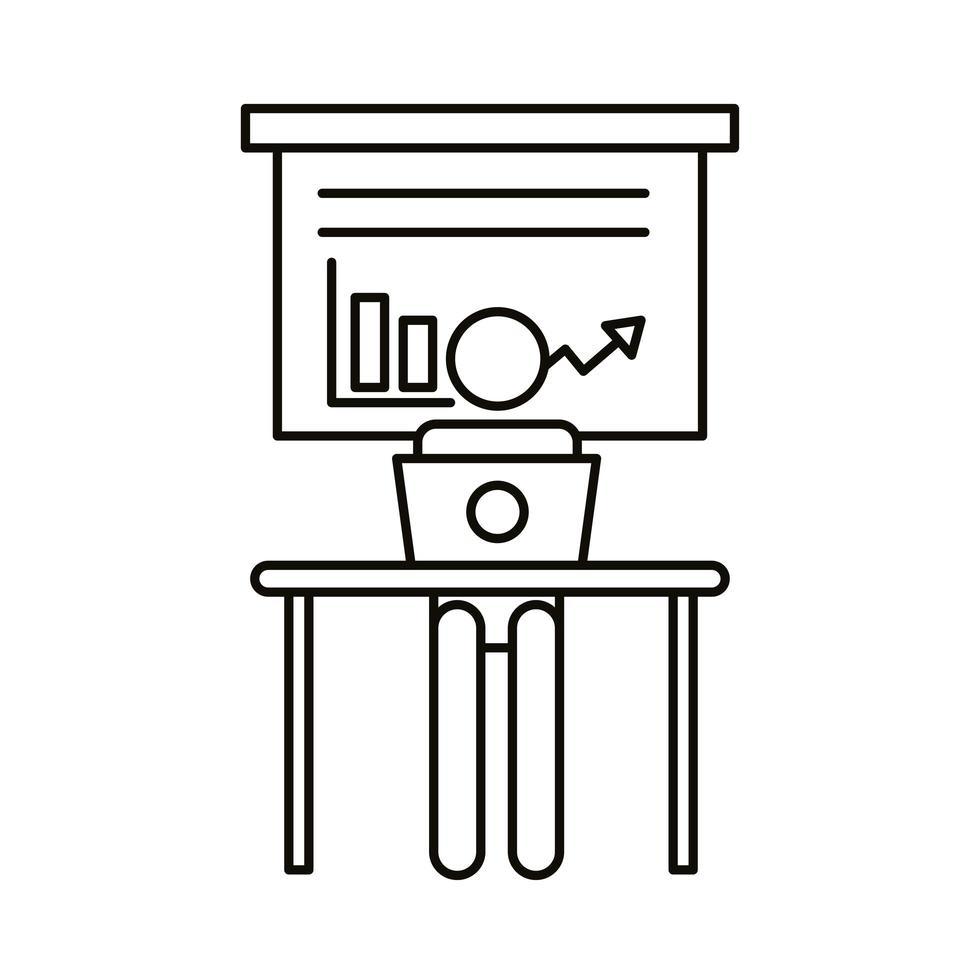 avatar de usuario trabajando en una computadora portátil con estilo de línea de estadísticas vector