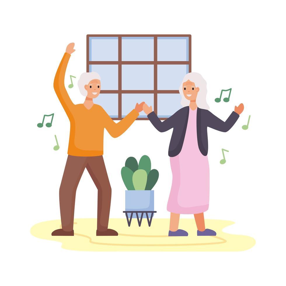personas mayores activas bailando personajes vector