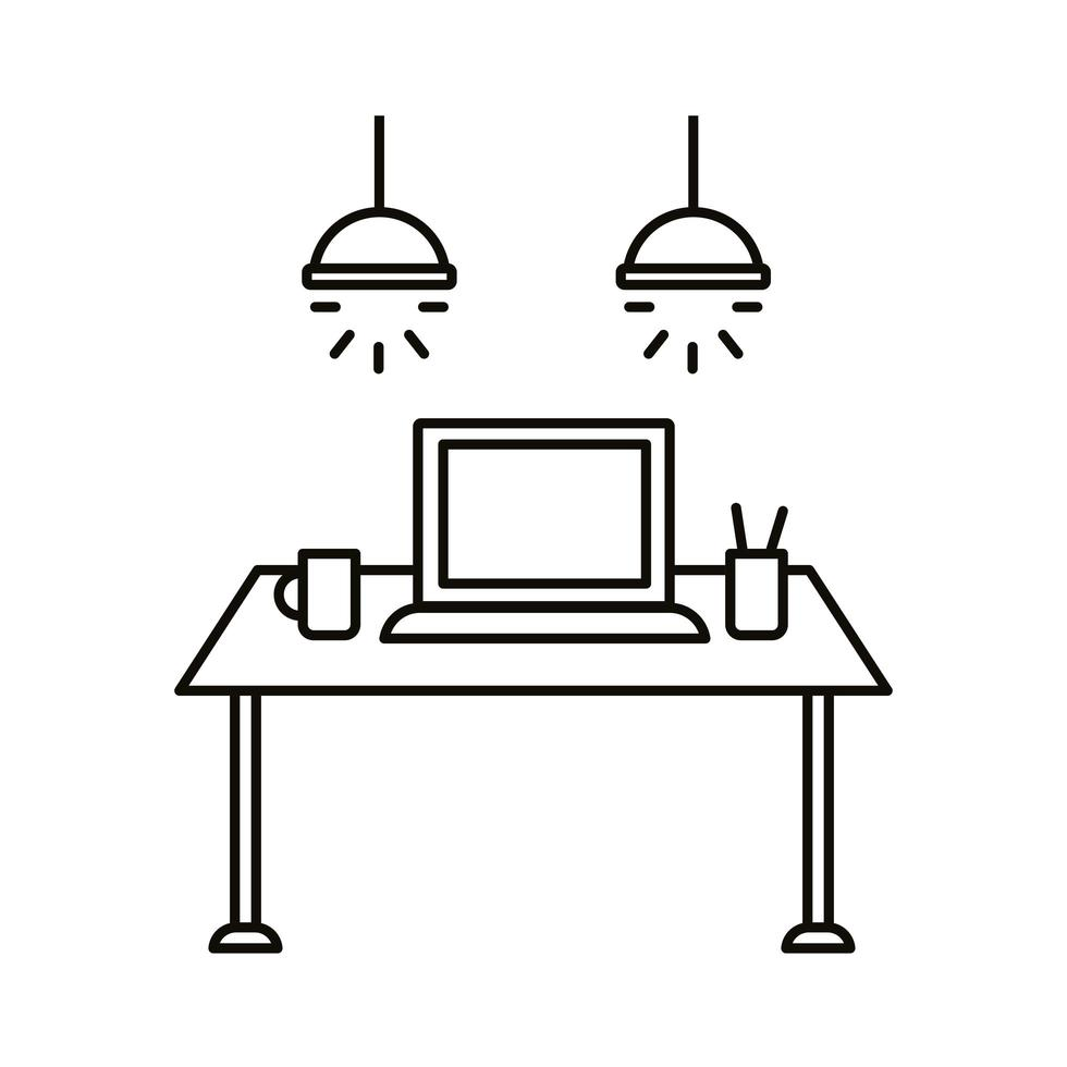 workplace with laptop on table line style icon vector