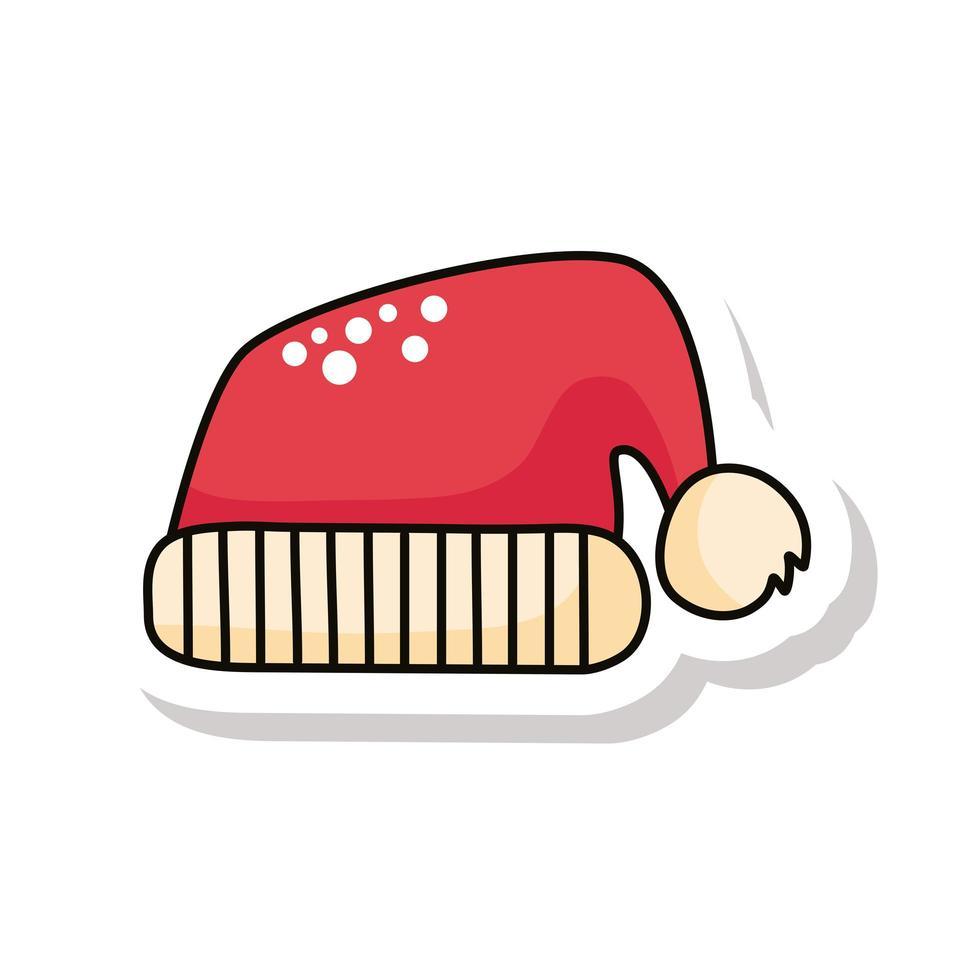 feliz navidad santa sombrero pegatina vector