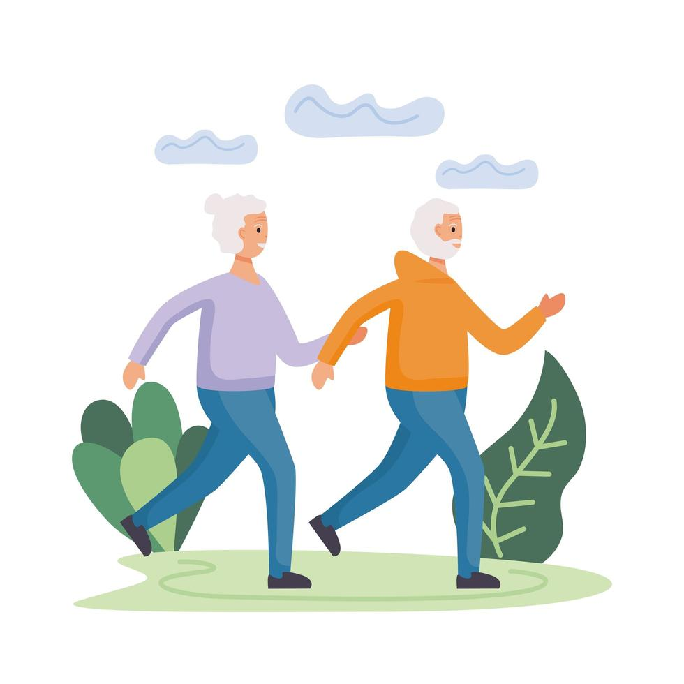 active senior couple running in the field characters vector