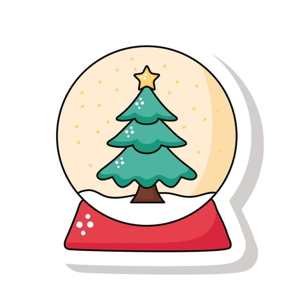 Feliz navidad pino en icono de etiqueta de esfera nevada vector
