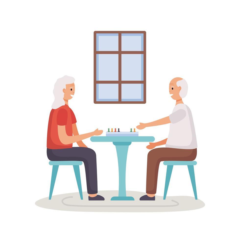 pareja senior activa jugando ludo vector