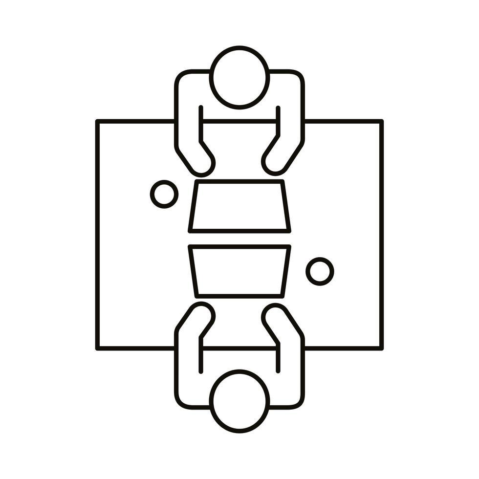 pareja de avatar trabajando en estilo de línea de computadoras portátiles vector
