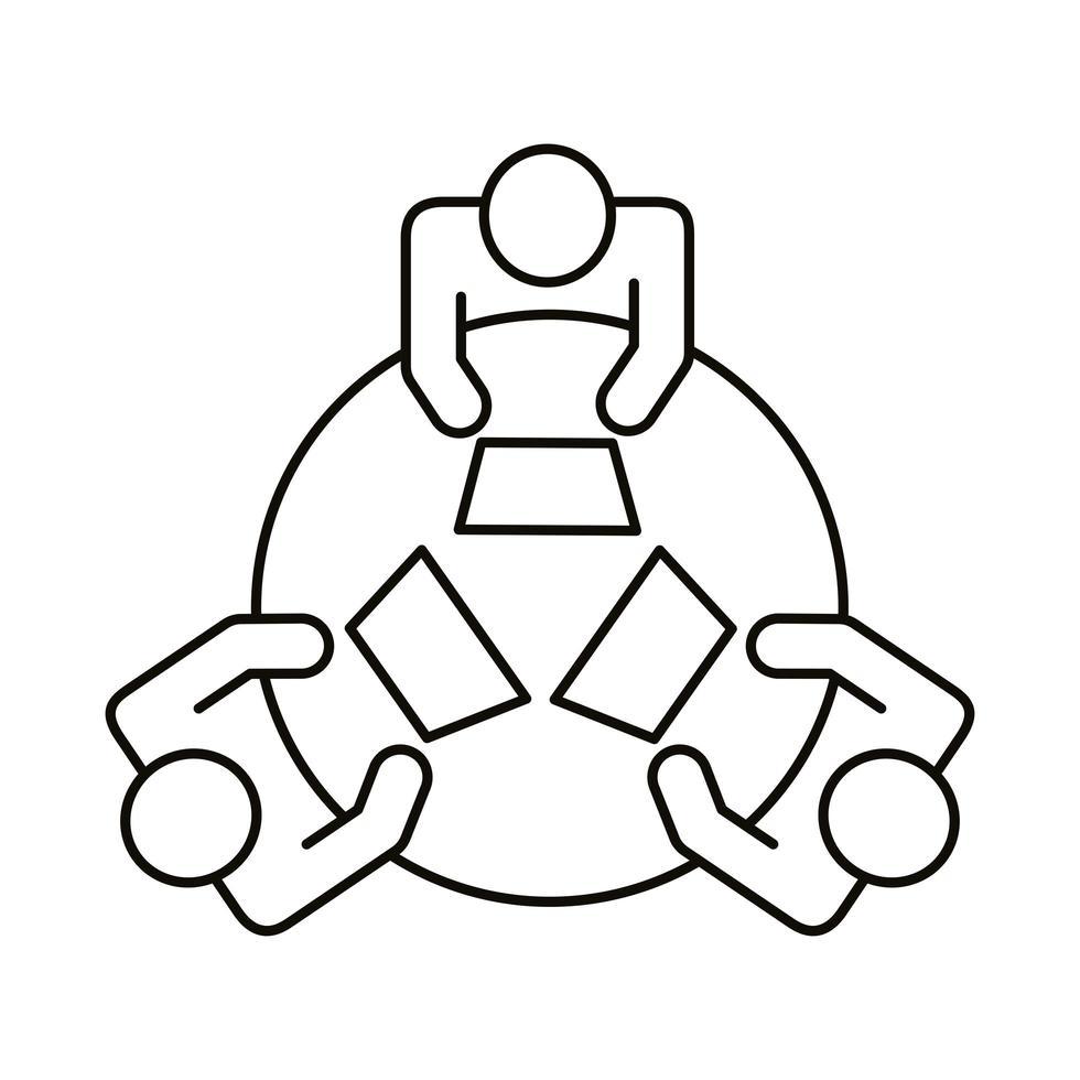 tres trabajadores en el icono de estilo de línea de coworking de mesa redonda vector