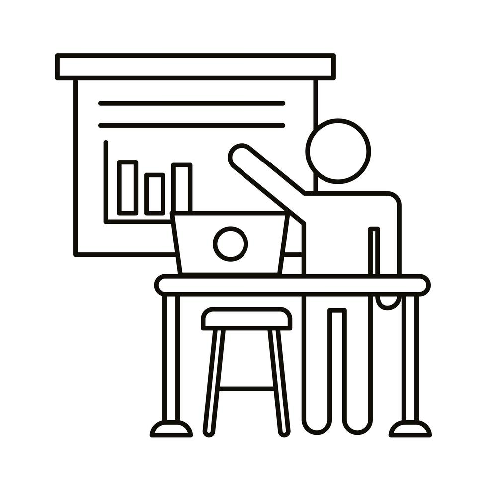 avatar de usuario trabajando en una computadora portátil con icono de estilo de línea de estadísticas vector