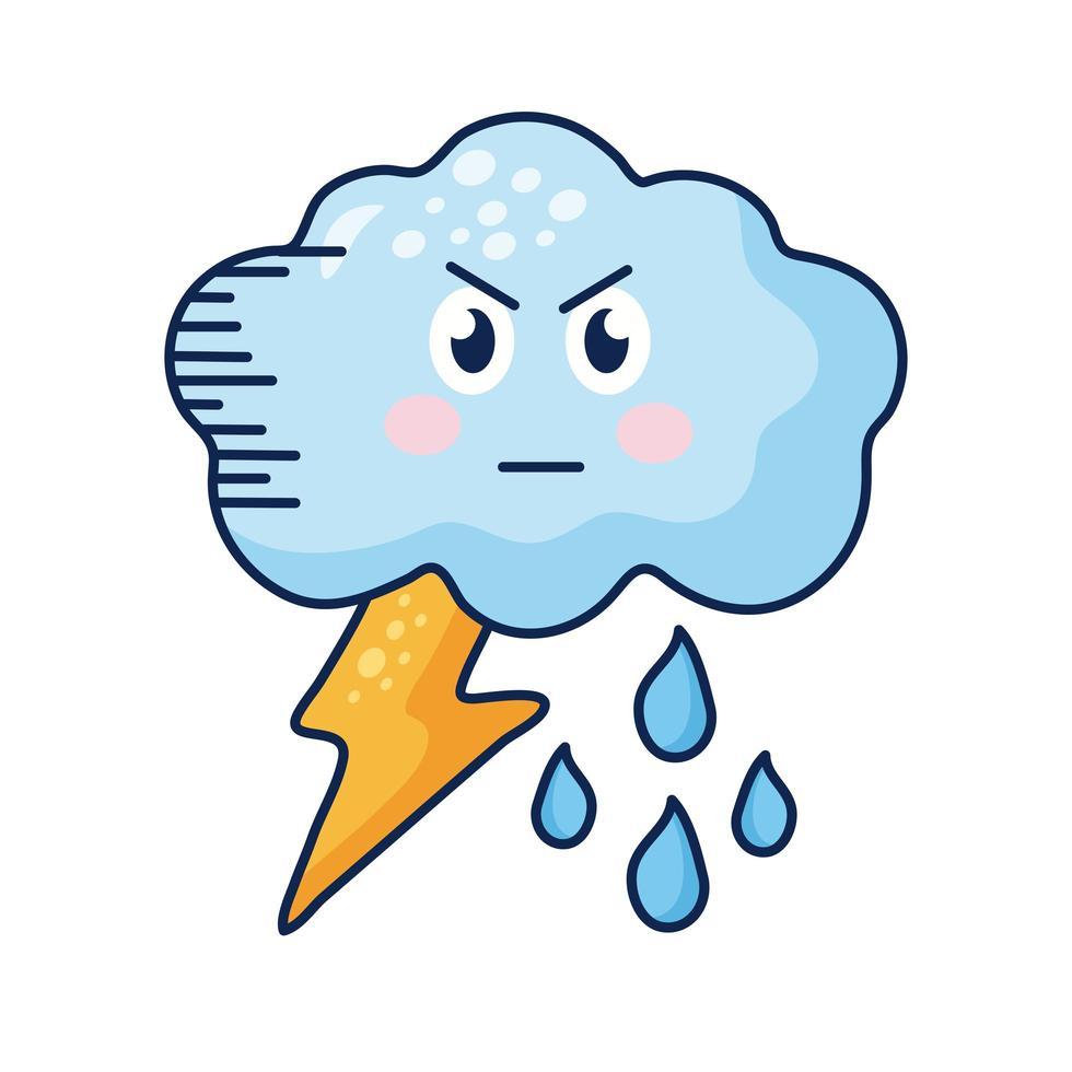 Nube kawaii con pernos y personaje cómico de lluvia vector