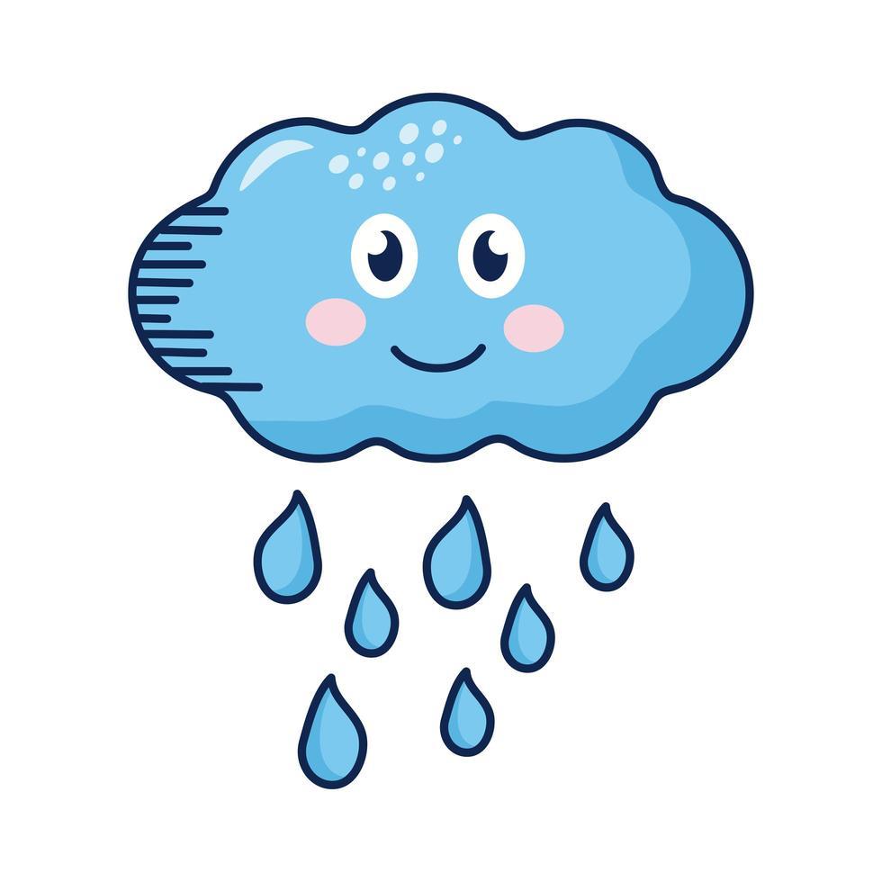 personaje de nube de lluvia kawaii vector