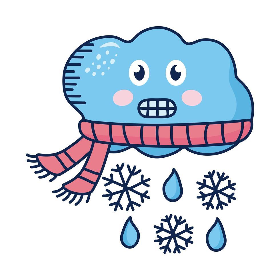 nube kawaii con bufanda con copos de nieve personaje cómico vector