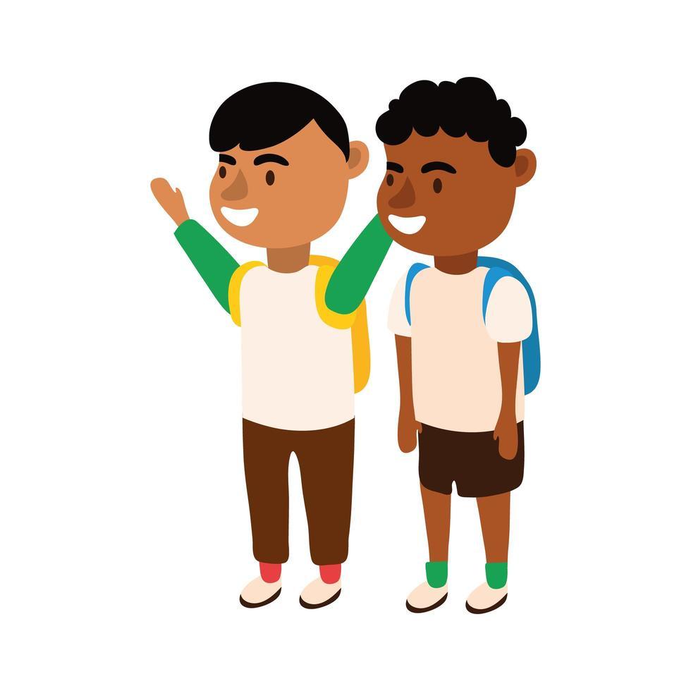 interraciales pequeños estudiantes chicos avatares personajes vector