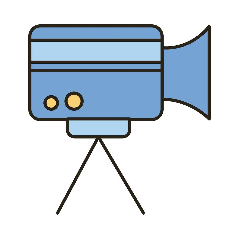 video camera line and fill style icon vector