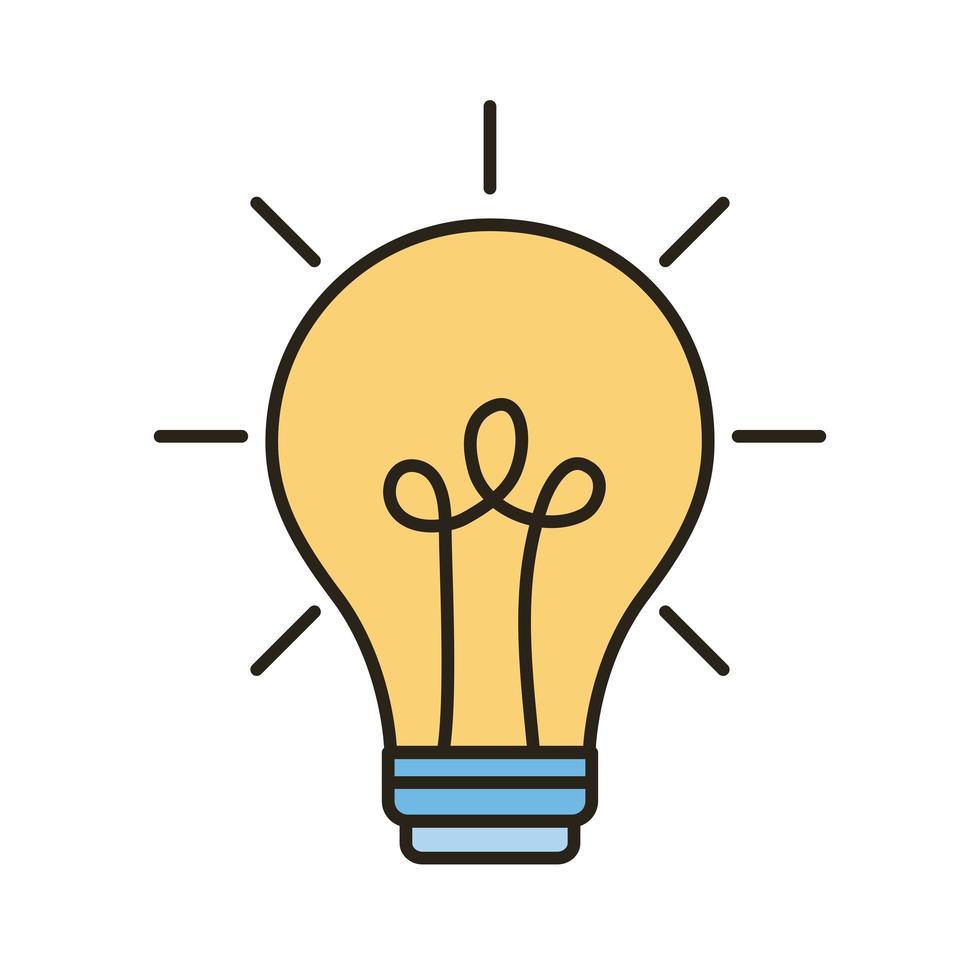 línea de idea de bombilla e icono de estilo de relleno vector