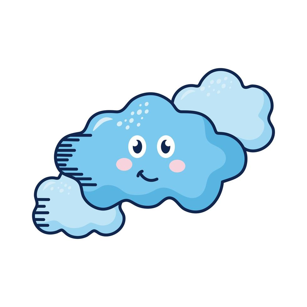 kawaii nubes personajes de cómic vector