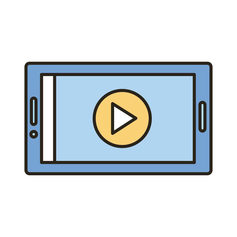 teléfono inteligente con línea de botón de reproducción e ícono de estilo de relleno vector
