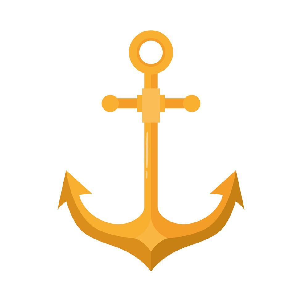 icono de estilo plano de símbolo de mar de ancla vector