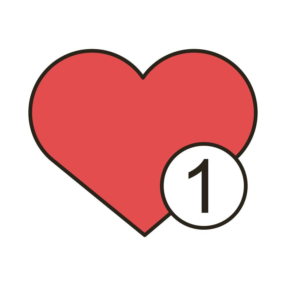 icono de estilo de relleno y línea de amor de corazón vector