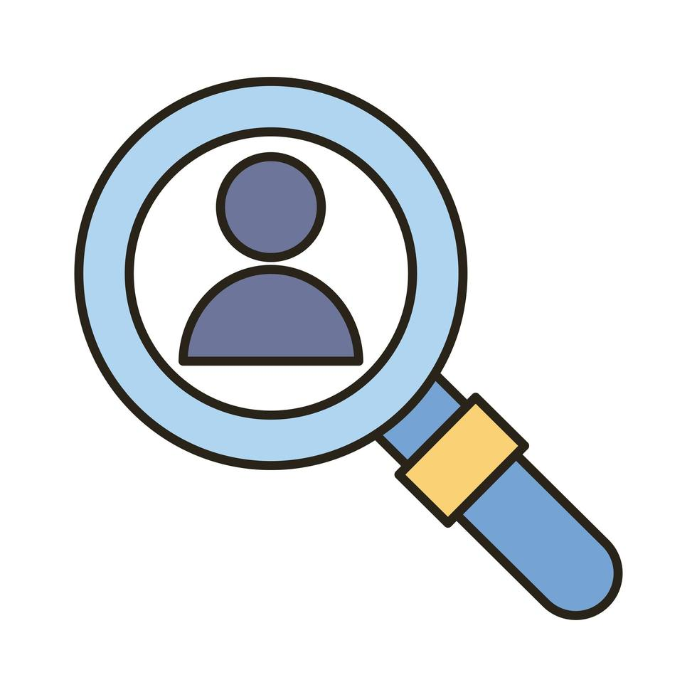 avatar de perfil en línea de lupa e icono de estilo de relleno vector