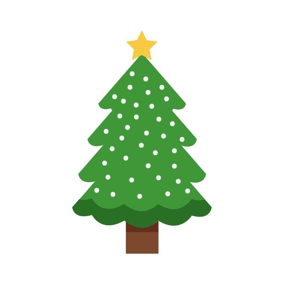 Feliz feliz navidad árbol verde con copos de nieve y estrella vector