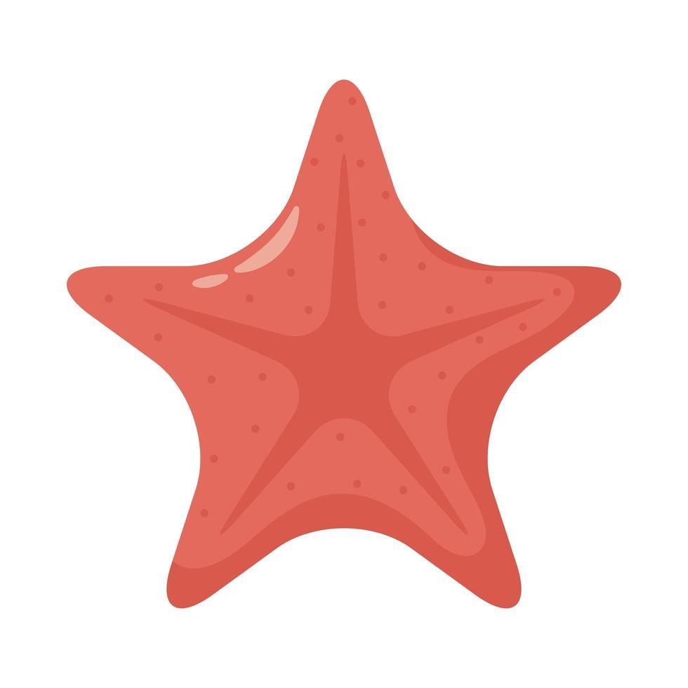 icono de estilo plano animal estrella de mar vector