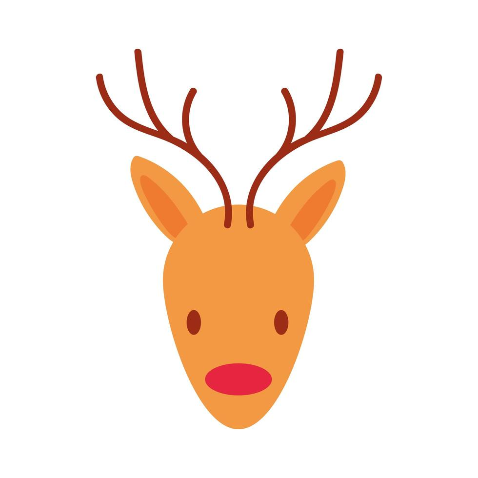 feliz navidad reno icono de estilo plano vector