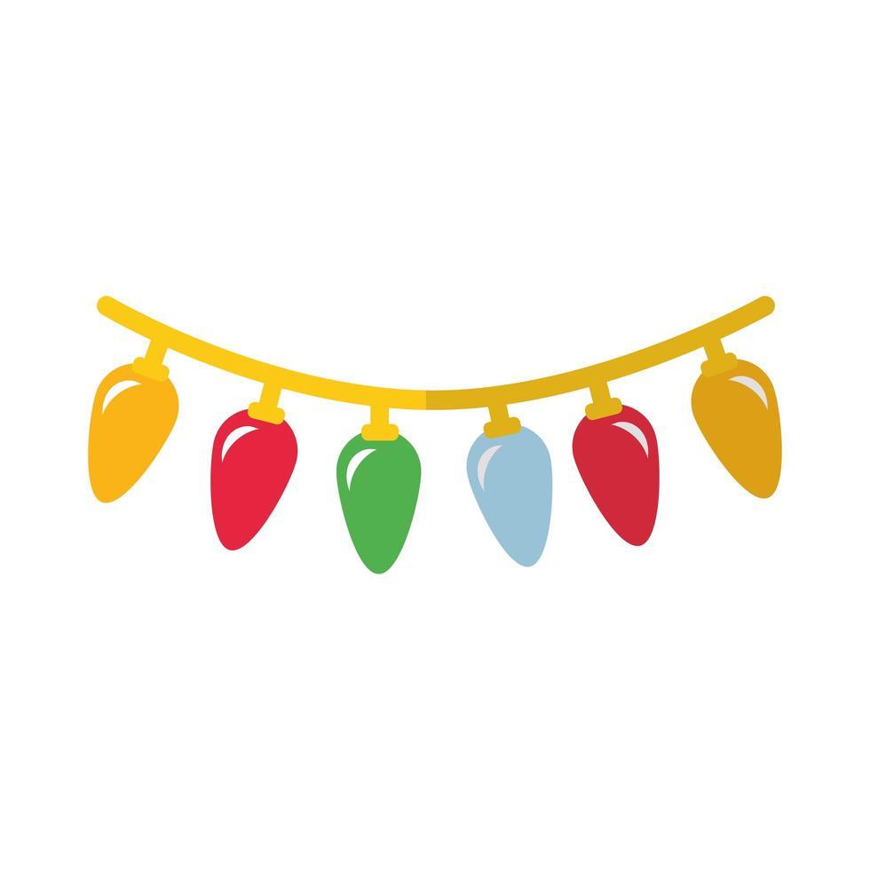 feliz navidad luces icono de estilo plano vector