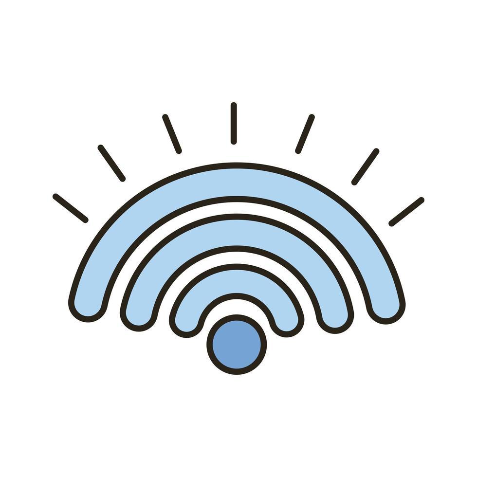 línea de señal wifi e icono de estilo de relleno vector