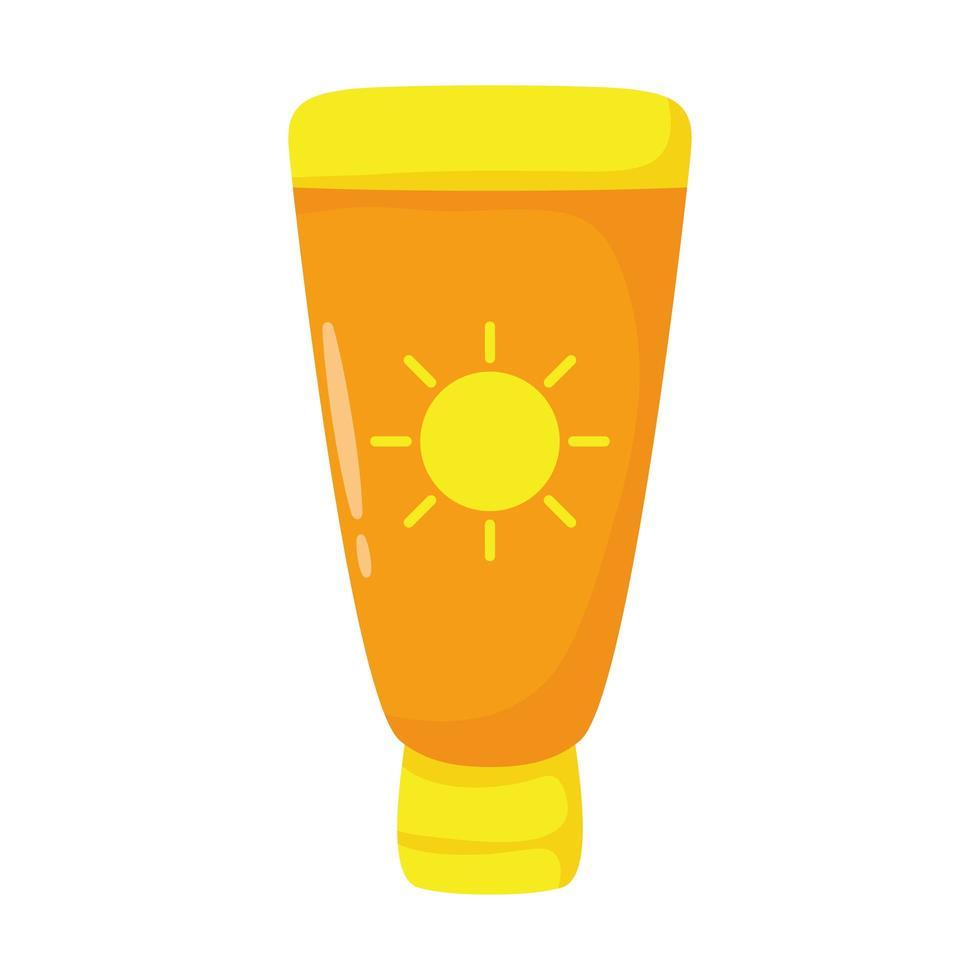 icono de estilo plano de tubo bloqueador solar vector