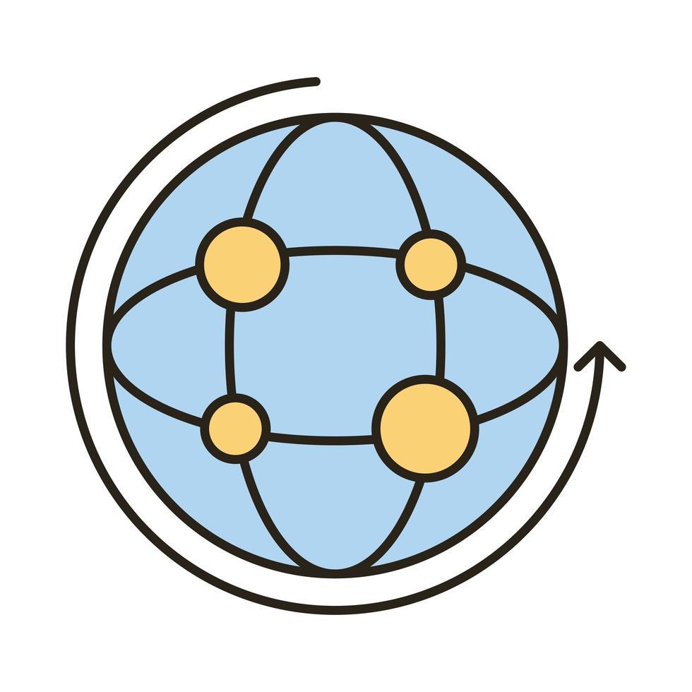 icono de estilo de relleno y línea de navegador de esfera vector