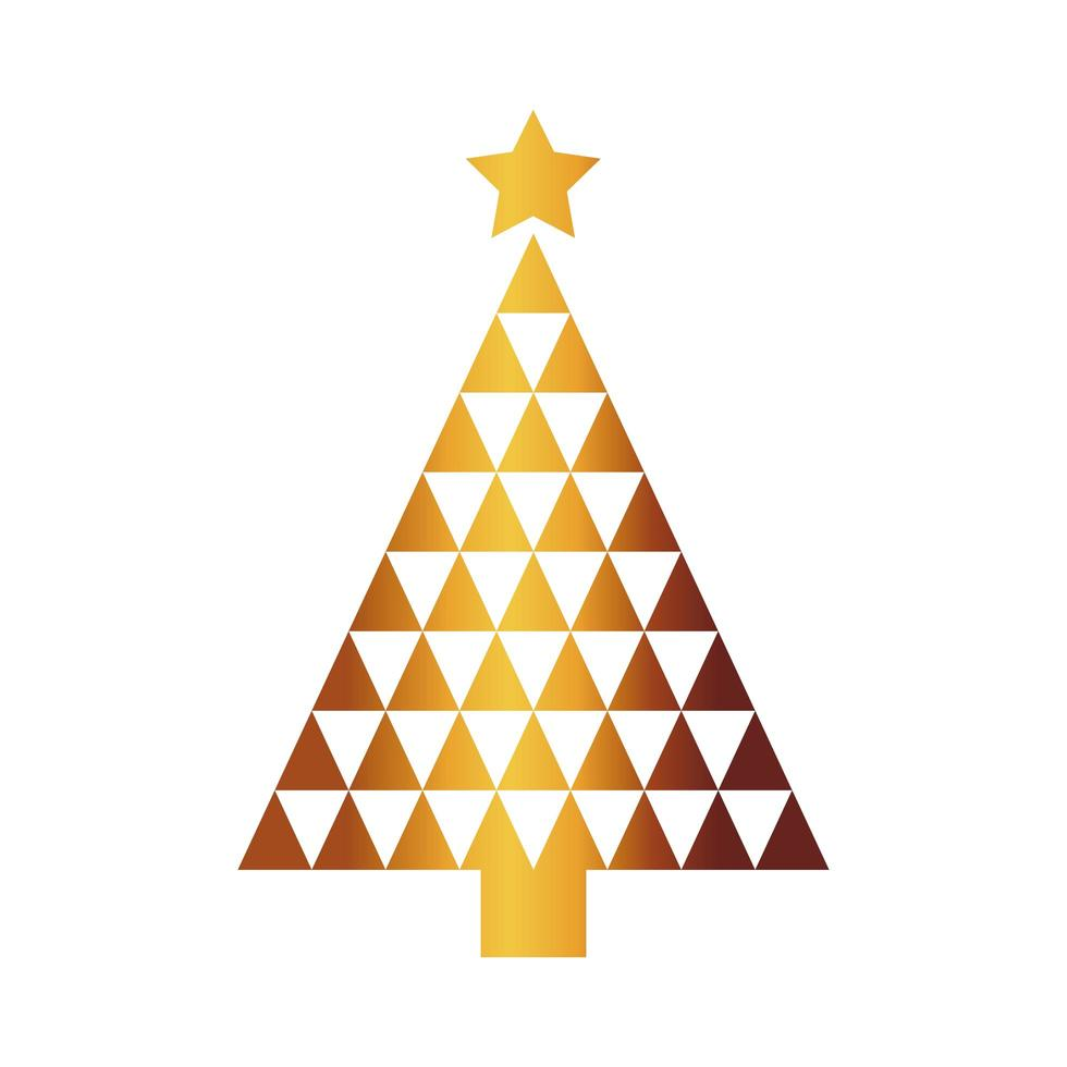 feliz feliz navidad árbol de triángulos dorados vector